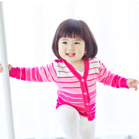 2013 spring child baby sweater 100% cotton baby single breasted sweater female child cardigan