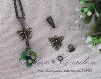 Free ship! 100sets/lot 16*4mm pendant glass globe with bronze jewelry accessory set glass bubble glass bottle glass vials