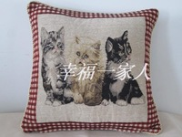 Hemp cotton jacquard cushion cover pillow cover cushion cover square grid kitten 40cm  x 40cm