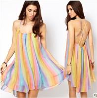 sweep chiffon patchwork colorful skirt  women's sundresses hawaiian sundresses cute sundresses