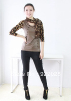 Free Shipping spring autumn women's slim t-shirt with silk scarf female double breasted o-neck leopard print Free Size T-shirts