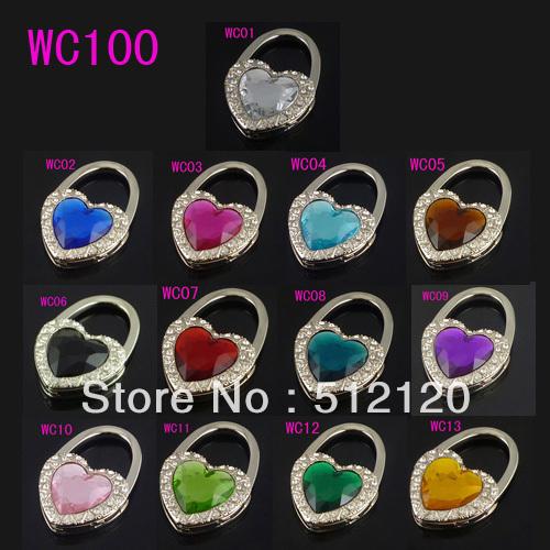 Free shipping wholesale 24pcs/lot fashion heart shape folding bag hooks/bag hanger/purse hangers 24pcs/lot 13 colors as optional(China (Mainland))