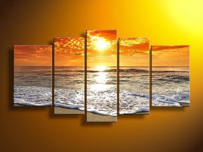 5 Piece Wall Art Abstract Seascape Beach Wave Group Oil