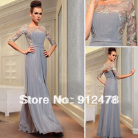 Free Shipping DorisQueen 2013 New Fashion Half Sleeve Embroidery Grey Long Design Evening Dresses Formal Prom Gowns Dress 30867