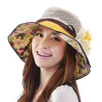 Hat women's summer flower sunbonnet anti-uv sun hat outdoor sunscreen large brim hat