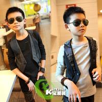 2012 autumn male child fashion long-sleeve T-shirt vest t-shirt 12135