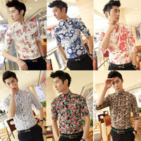 2013 Summer three quarter sleeve tidal current men short-sleeve shirt fashion slim small floral print shirt  shirt half sleeve