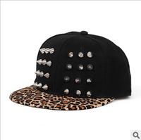 Hip-hop punk rivet hiphop cap leopard print lovers hip-hop baseball cap hat