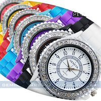 Min order 20pcs new FASHION Geneva Silicone watch ladies Crystal Wrist Jelly Watches