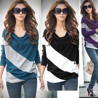 Free Shipping Fashion Korea Women's Batwing Casual T-shirt Stripe Blouse Tops
