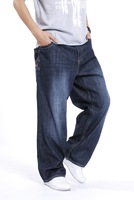Plus size clothing plus size men's trousers jeans pants male loose jeans wide leg pants oversized