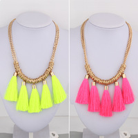 Fashion neon color  tassel vintage chain pendant statement  necklace 2013 fashion women  accessories
