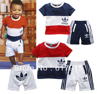 2013 New Baby Boys' 2-pcs summer track suit Kids' Short Sleeve tshirt+Shorts Boys' Clothing 3 sets/lot 2 Colors
