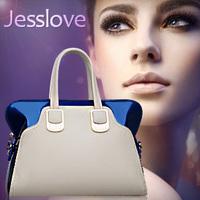 New arrival lady handbag,, jesslove 2014 japanned leather color block women's  shoulder bag,free shipping,1pce wholesale