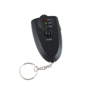 Free shipping!New portable breath alcohol tester digital display + LED light with keychain alcohol tester
