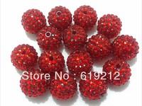 20MM  100pcs/lot Red Chunky Resin Rhinestone Beads,Chunky Rhinestone Beads