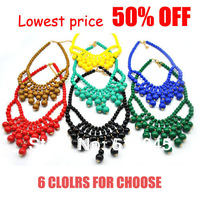 Cheapest Price! Free Shipping 2013 vintage chunky bib bubble choke necklaces,candy color collar women jewelry necklace GBN053