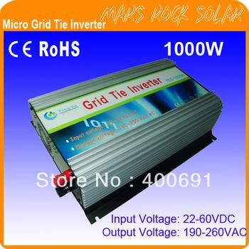 1000W DC22V~60V, AC190V-260V 50/60HZ Grid Tie  Pure Sine Wave Solar Inverter, Grid tie inverter