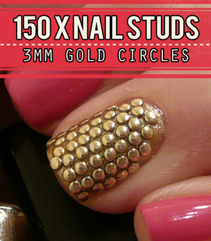 Gold Metal Nail Studs 3d Nail Art Decorations 3mm Round Circle Studded Manicure