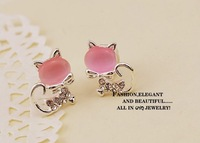 Wholesale E027 Korea opal jewelry cute little kitty flash diamond bow earrings earrings earrings female 100pairs/lots