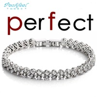 PF brand bestselling HOT 925 sterling silver & AAA swiss crystal & 3 layers of platinum full crystal female bracelets