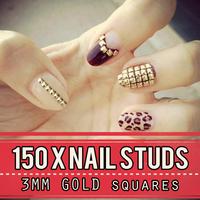 Gold Metal Nail Studs 3d Nail Art Decorations 3mm Squre Studded Manicure Punk