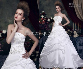 Sexy Strapless A Line Sweep/Brush Satin Fold Beaded Standard code wedding dresseszarabridal