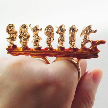 Sheegior Min.order $10 mix order Cute Fashion gold Seven Dwarfs two fingers ring Free shipping