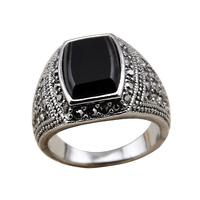 Кольцо 18K Gold Plated Gold Jewelry Big Blue Zircon Stone Ring For Men