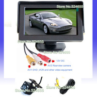 Wire Parking Assistance Car hd night vision camera and 4.3 car monitor backup camera parking camera system Free shipping