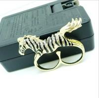 Sheegior Fashion full rhinestone running horse double finger unisex rings Min.order $10 mix order Free shipping