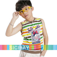 New Fashion Free Shipping Boys Striped Vests Kids Cotton Cartoon Tops K0824