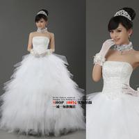 2014 White Sexy Off Shoulder Flower Bride Wedding Sweet Princess Lace Up Puff Skirt Wedding Dress