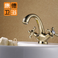 Fashion gold faucet gold basin double cold and hot water antique (KP)
