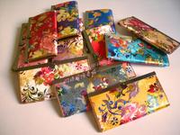 Vintage flower silk long design wallet place card coin pocket