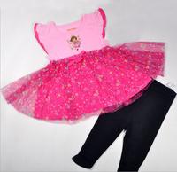 Free shipping NWT kids summer short set explorer dora sweet rose lace dress + black legging, MOQ: 4 set