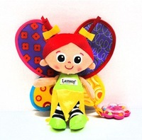 Candice guo! Hot sale cute baby toys plush lamaze multifunctional butterfly princess bed hang/bed bell baby girls love