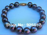 "8-9MM AAA TAHITIAN BLACK PEARL BRACELET 7.5""-8INCH Fashion jewelry"