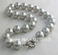 "14mm Gray south sea shell pearl necklace 18"" AAAFashion jewelry"