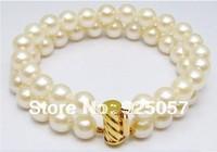 Charming AAA 2 row 8-9MM AKOYA white pearl bracelet 7.5 INCH Fashion jewelry