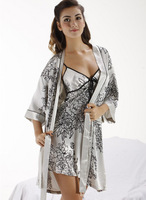 2013 Silk pajamas Nightgown genuine lovers nightdress Nightgown women's sleepwear M/L/XL/XXL/XXXL pink gray color SW014