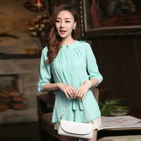 O-neck fifth sleeve medium-long loose chiffon shirt o-neck puff sleeve shirt top female