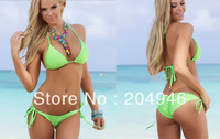 hot Summer Sexy mini Solid color triangle Bikini Swimwear Beachwear women blue green pink red black purple orange 8colors YRS628