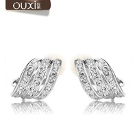 Trendy austrian crystal clip on earrings for non pierced ears 20069 free shipping