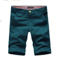 High quality Men's fashion Fine plaid color block slim sports casual short shorts 9027p035 / blue.army green.khaki / M,L,XL,XXL