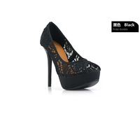 2013 open toe cutout lace gauze sexy shallow mouth shoes ultra high heels platform thin heels sandals
