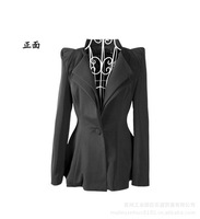 Hot sale 2013 one button black double layer collar blazer suit Free shipping #TC 3004