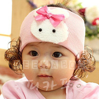 2013 spring and autumn bow rabbit child wig wigs child headband rabbit hair band