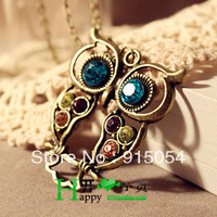 Free shipping (Min order $15)4249 European and American vintage tri-color inlay diamond hollow carved cute owl necklace sweater