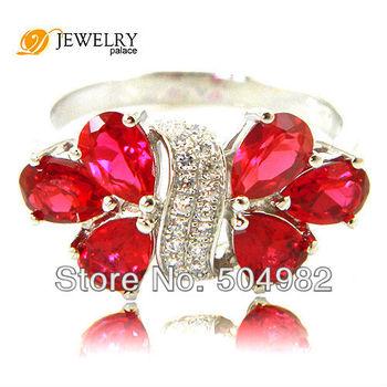 Оптовая Женская 3CT рубиновое кольцо 0,925 стерлингового серебра Размер 6 7 8 Бесплатная доставка